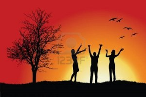 8603924-two-women-and-man-standing-on-hill-near-bare-tree-hands-up-red-background